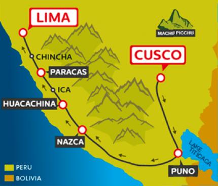 Tourist Bus Cusco to Puno to Huacachina to Paracas to Lima (Peru Hop)