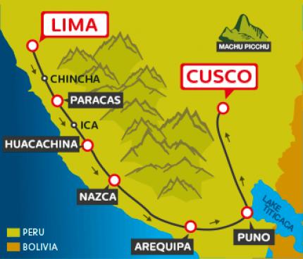 Tourist Bus Lima to Paracas to Huacachina to Arequipa to Puno to Cusco (Peru Hop)