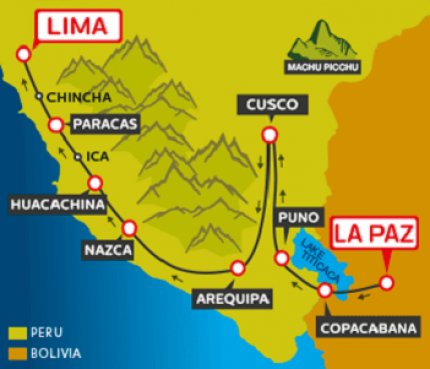 Tourist Bus La Paz to Copacabana to Puno to Cusco to Arequipa (via Nasca) to Huacachina to Paracas to Lima (Bolivia & Peru Hop)