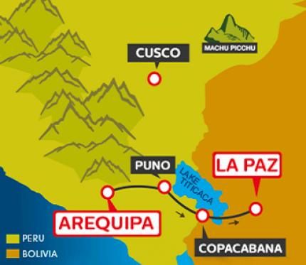 Tourist Bus Arequipa to Puno to Copacabana to La Paz (Bolivia Hop)