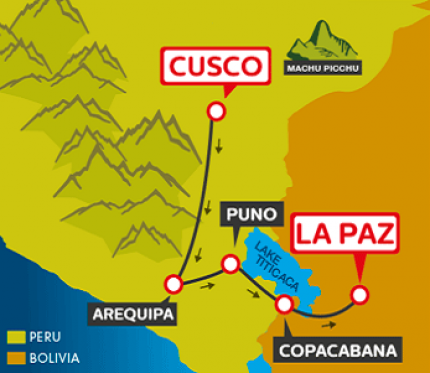 Tourist Bus Cusco to Arequipa to Puno to Copacabana to La Paz (Bolivia Hop)