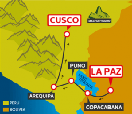 Tourist Bus La Paz to Copacabana to Puno to Arequipa to Cusco (Bolivia Hop)