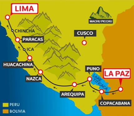 Tourist Bus La Paz to Copacabana to Puno to Arequipa (via Nasca) to Huacachina to Paracas to Lima (Bolivia & Peru Hop)