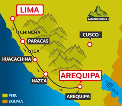 Tourist Bus Lima to Paracas to Huacachina to Arequipa (Peru Hop)